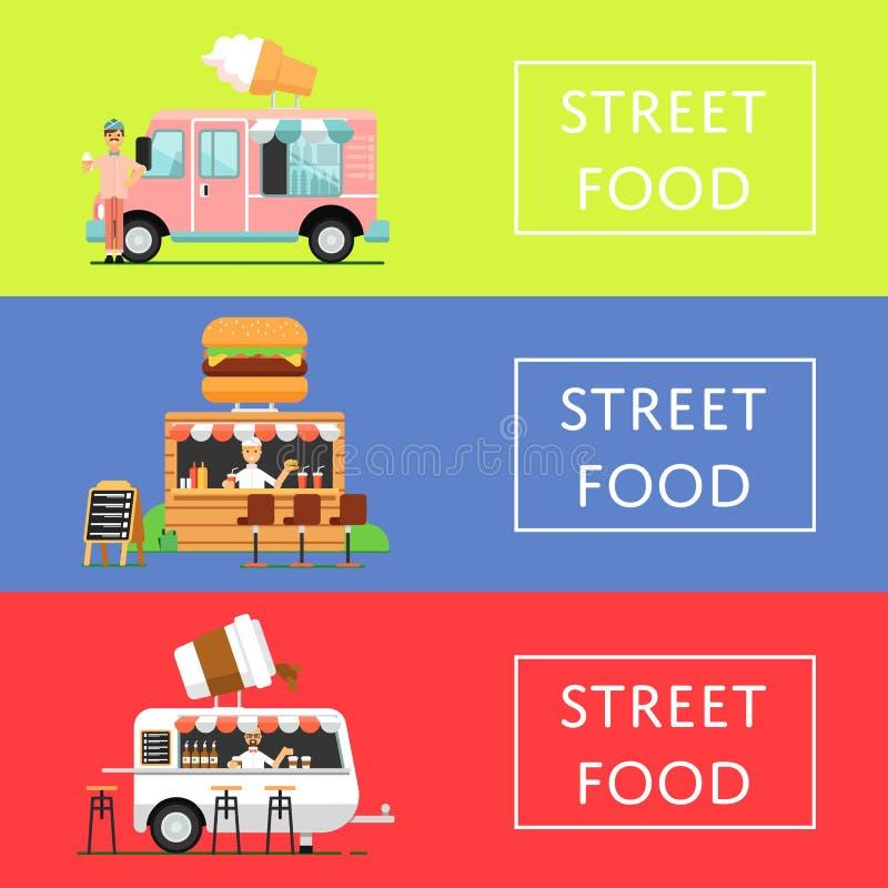 Ιπτάμενα φεστιβάλ τροφίμων οδών καθορισμένα διανυσματική απεικόνιση