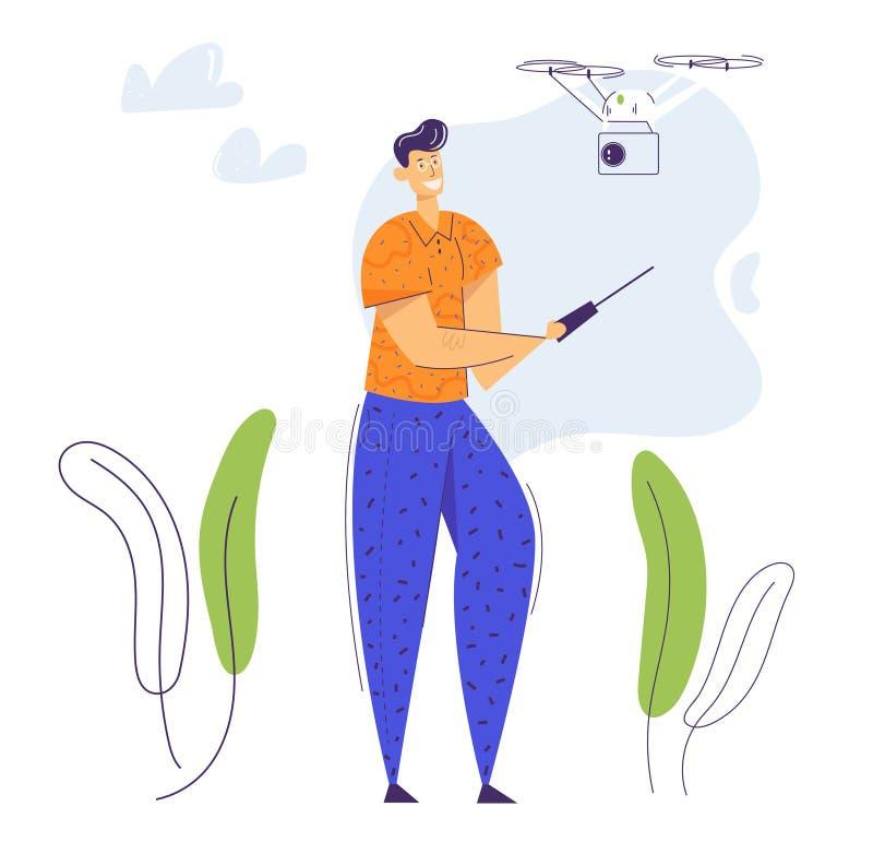 Ιπτάμενος μη επανδρωμένος άντρας με τηλεχειριστήριο Τεχνολογία Video Photo Camera Flight Gadget διανυσματική απεικόνιση