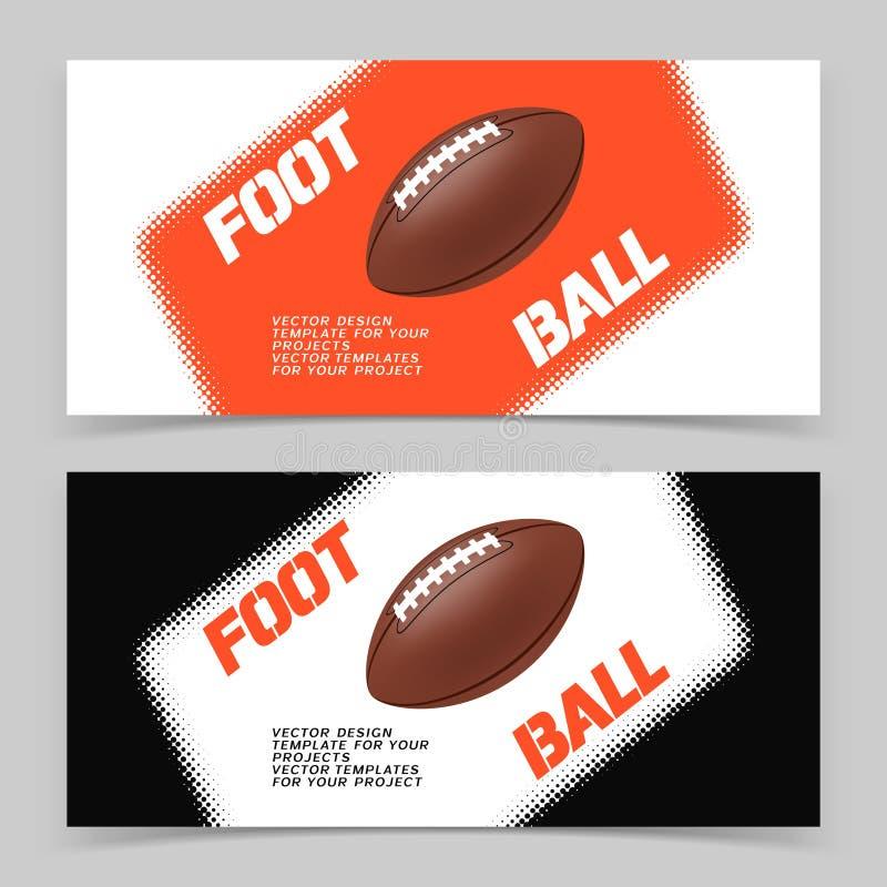 Ιπτάμενο ή σχέδιο εμβλημάτων Ιστού με το εικονίδιο σφαιρών αμερικανικού ποδοσφαίρου ελεύθερη απεικόνιση δικαιώματος