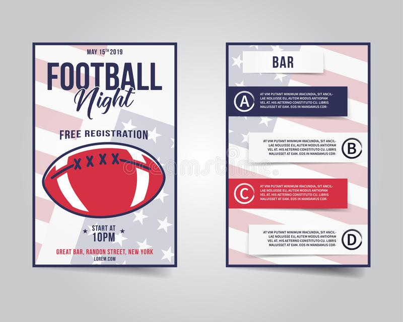 Ιπτάμενο αμερικανικού ποδοσφαίρου Σχεδιάγραμμα νύχτας αθλητικών κομμάτων, φυλλάδιο Σύγχρονη επαγγελματική αφίσα Πρόσκληση γεγονότ διανυσματική απεικόνιση