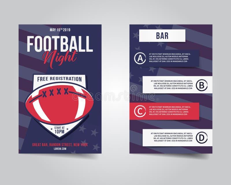 Ιπτάμενο αμερικανικού ποδοσφαίρου Σχεδιάγραμμα νύχτας αθλητικών κομμάτων, φυλλάδιο Σύγχρονη επαγγελματική αφίσα Πρόσκληση γεγονότ απεικόνιση αποθεμάτων