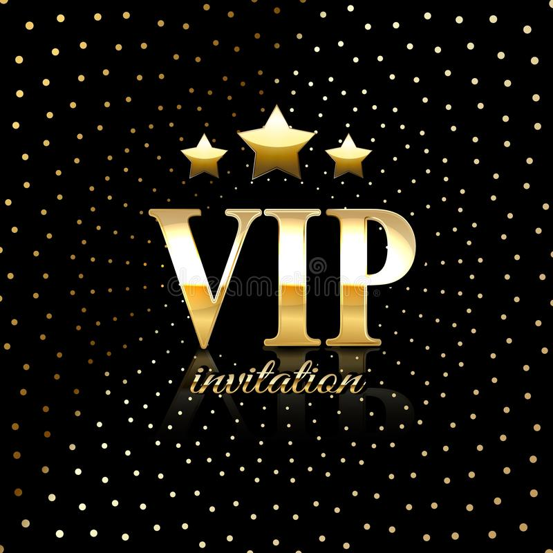 Ιπτάμενο αφισών καρτών πρόσκλησης ασφαλίστρου VIP κομμάτων Μαύρο και χρυσό πρότυπο σχεδίου Γεμισμένο διακοσμητικό υπόβαθρο σχεδίω ελεύθερη απεικόνιση δικαιώματος