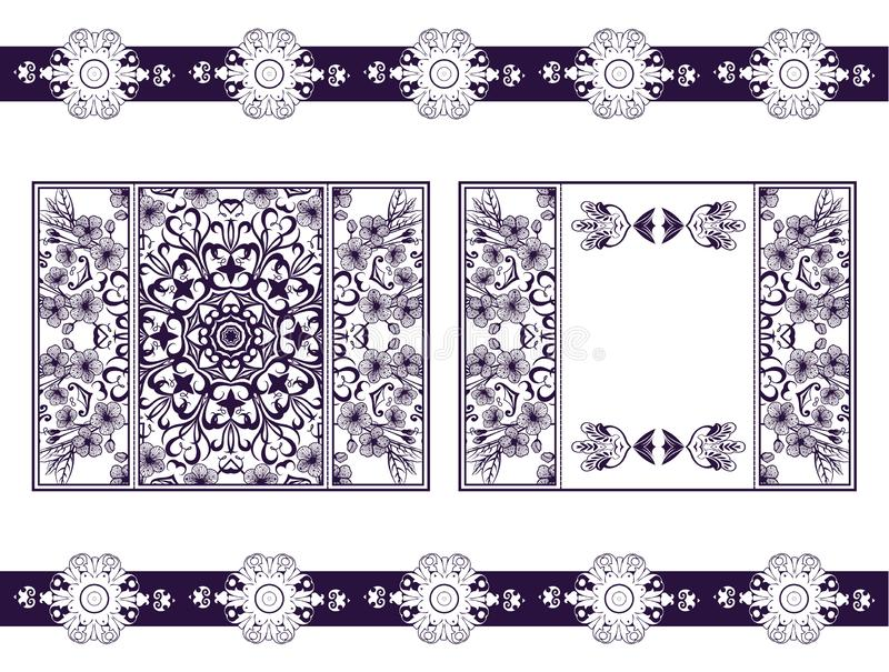 Ιπτάμενο για το τέμνον mandala λέιζερ Διανυσματική κάρτα εγγράφου με το πορφυρό, πορφυρό σχέδιο δαντελλών Γαμήλιες προσκλήσεις, κ διανυσματική απεικόνιση