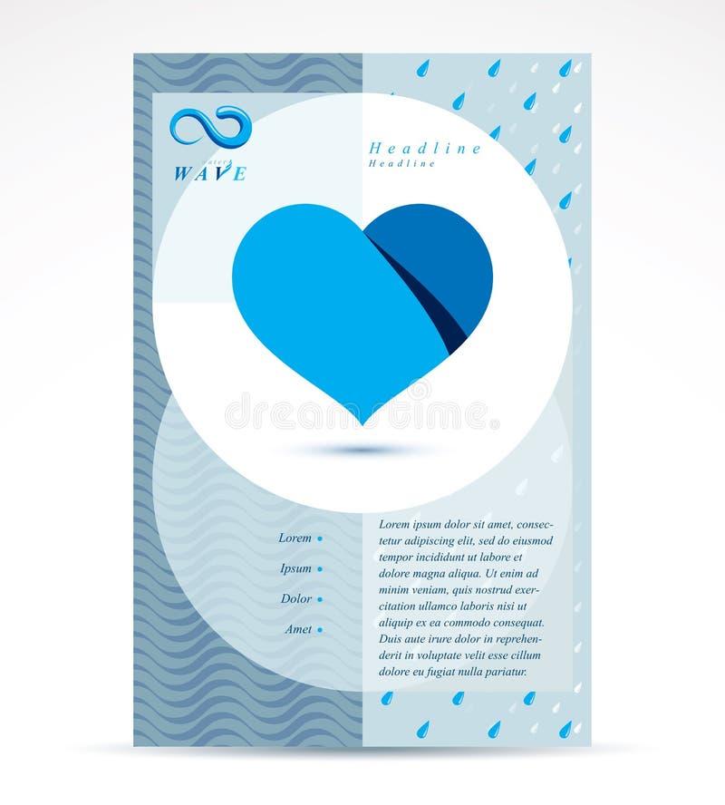 Ιπτάμενο διαφήμισης επιχείρησης κατεργασίας ύδατος Καθαρά διανυσματικά ABS νερού ελεύθερη απεικόνιση δικαιώματος