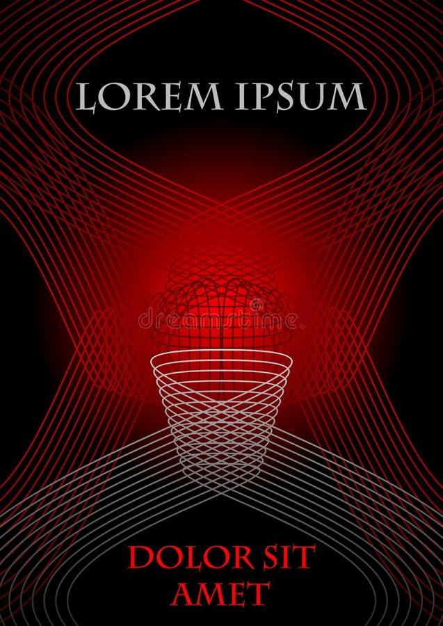 Ιπτάμενο, κάλυψη, φυλλάδιο, βιβλίο, πρότυπο λογαριασμών στο κόκκινο και μαύρο σχέδιο με την αφηρημένη μορφή γραμμών στα σχέδια αρ διανυσματική απεικόνιση