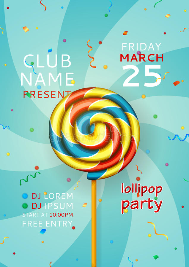Ιπτάμενο κομμάτων Lollipop, ιπτάμενο κομμάτων μουσικής διανυσματική απεικόνιση