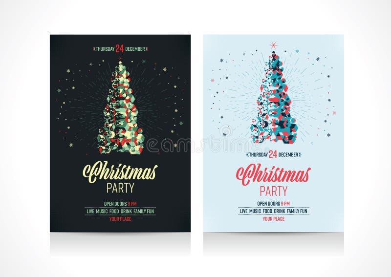 Ιπτάμενο προτύπων πρόσκλησης διακοπών Χριστουγέννων Γεωμετρικό χριστουγεννιάτικο δέντρο με τα αστέρια διανυσματική απεικόνιση
