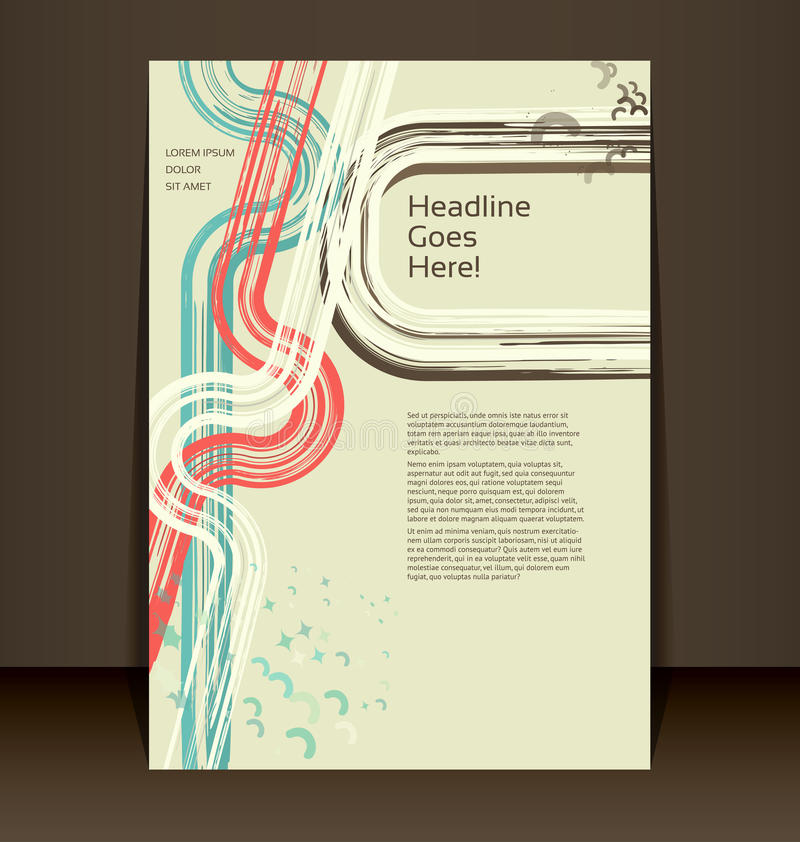 Ιπτάμενο, φυλλάδιο, σχεδιάγραμμα βιβλιάριων. Πρότυπο σχεδίου Editable διανυσματική απεικόνιση