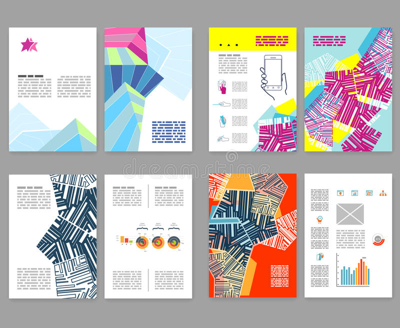 Ιπτάμενο, φυλλάδιο, σύνολο σχεδιαγράμματος βιβλιάριων Πρότυπο σχεδίου Editable A4 ελεύθερη απεικόνιση δικαιώματος