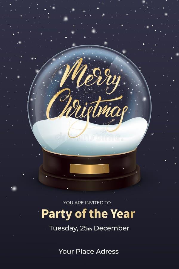 Ιπτάμενο Χριστουγέννων Σχέδιο χειμερινών διακοπών με τη ρεαλιστική σφαίρα χιονιού και την καλλιγραφία Χαρούμενα Χριστούγεννας απεικόνιση αποθεμάτων
