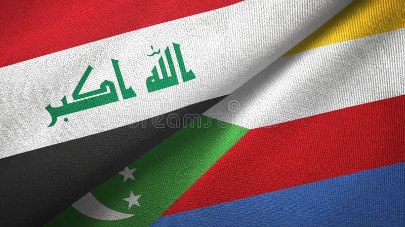 Ιράκ και Κομόρες δύο υφαντικό ύφασμα σημαιών, σύσταση υφάσματος διανυσματική απεικόνιση