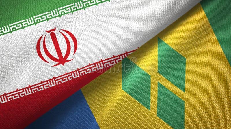 Ιράν και Άγιος Βικέντιος και Γρεναδίνες δύο υφαντικό ύφασμα σημαιών ελεύθερη απεικόνιση δικαιώματος