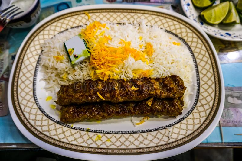 Ιρανικό Kabab Koobideh στοκ εικόνες
