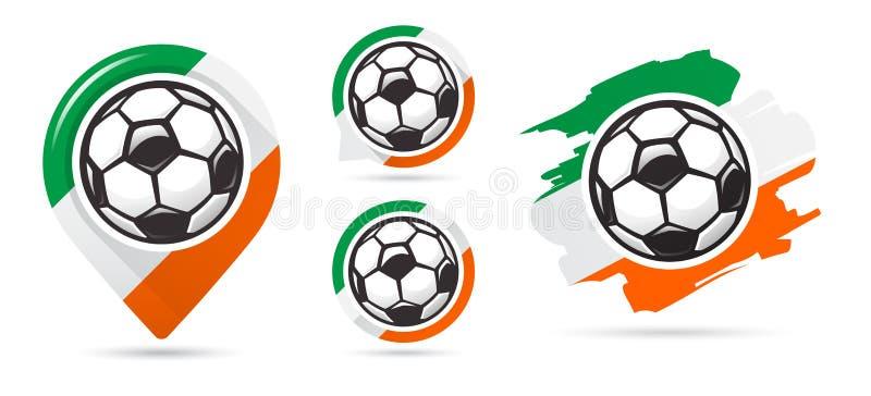 Ιρλανδικά διανυσματικά εικονίδια ποδοσφαίρου Στόχος ποδοσφαίρου Σύνολο εικονιδίων ποδοσφαίρου απεικόνιση αποθεμάτων