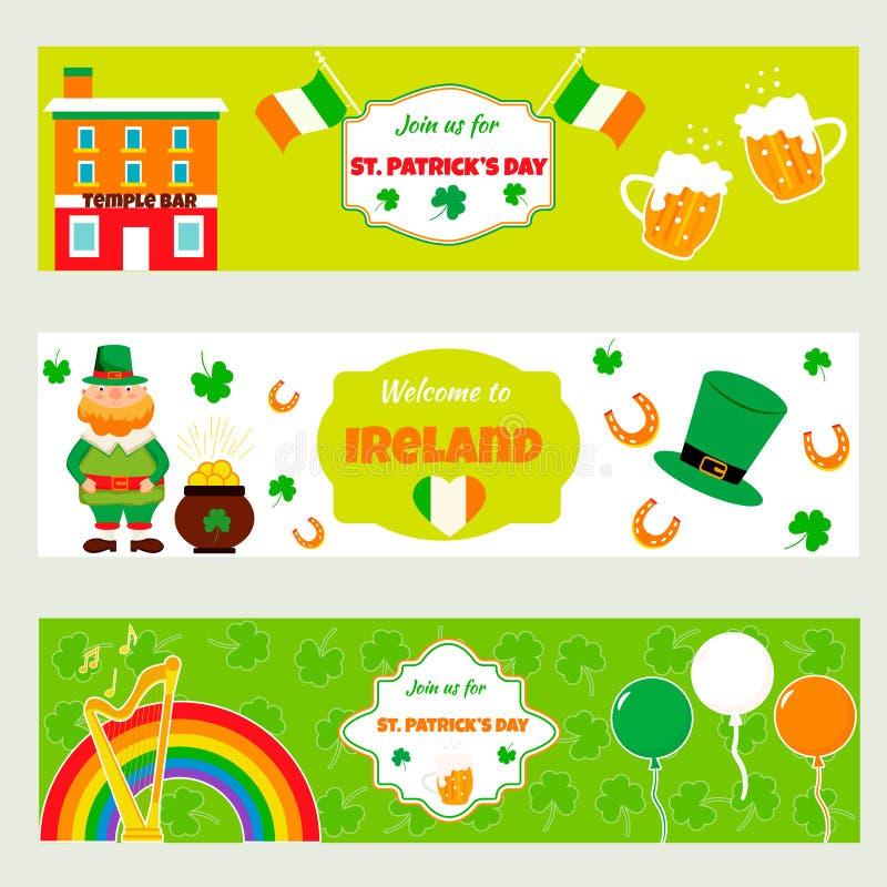 Ιρλανδικά εμβλήματα με τα παραδοσιακά σύμβολα, χαρακτήρες και στοιχεία Τελειοποιήστε για την ημέρα του ST Πάτρικ ` s ελεύθερη απεικόνιση δικαιώματος