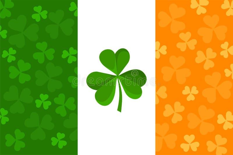 Ιρλανδική σημαία με το πρότυπο τριφυλλιών. απεικόνιση αποθεμάτων