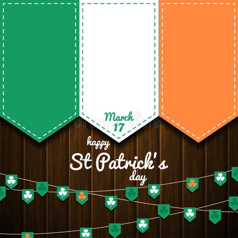 Ιρλανδική σημαία στον ξύλινο τοίχο ανασκόπηση ημέρα patricks ST στοκ εικόνα