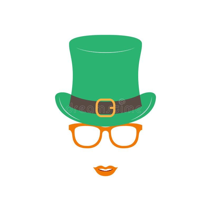 Ιρλανδικό κορίτσι στο πράσινο καπέλο και τα πορτοκαλιά γυαλιά ελεύθερη απεικόνιση δικαιώματος