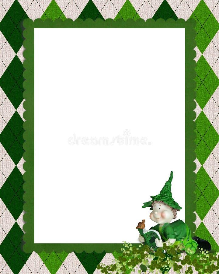 Ιρλανδικό πλαίσιο argyle με το leprechaun ελεύθερη απεικόνιση δικαιώματος