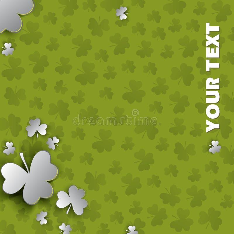 Ιρλανδική ανασκόπηση τεσσάρων τριφυλλιών φύλλων τυχερή για την ευτυχή ημέρα του ST Πάτρικ ελεύθερη απεικόνιση δικαιώματος