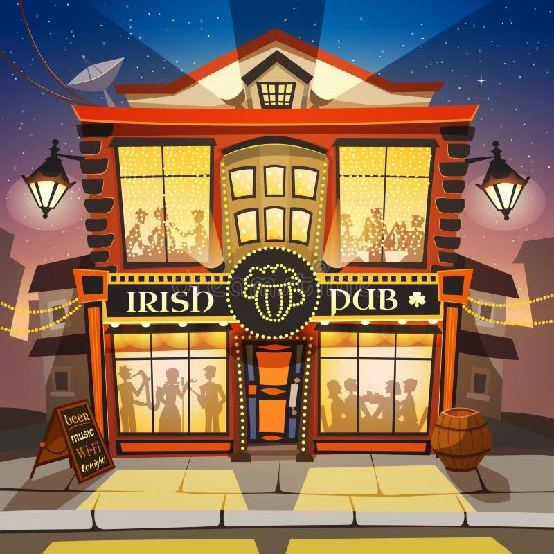 Ιρλανδική απεικόνιση κινούμενων σχεδίων μπαρ ελεύθερη απεικόνιση δικαιώματος