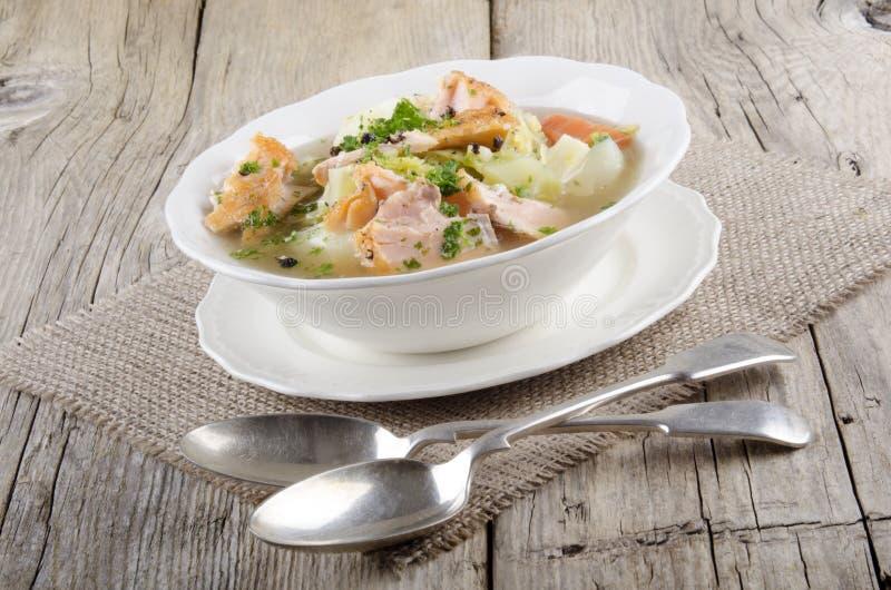 Ιρλανδικό άγριο stew σολομών σε ένα κύπελλο στοκ φωτογραφία