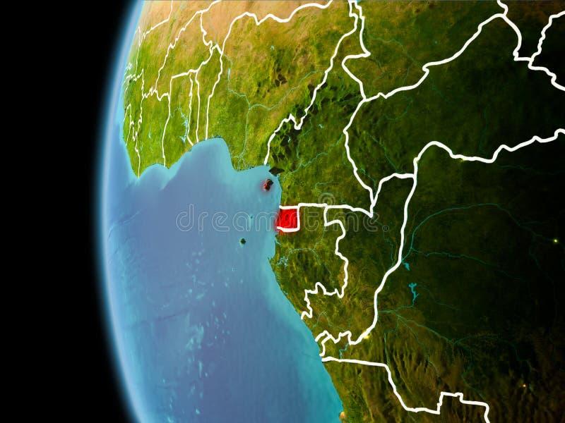 Ισημερινή Γουινέα από το διάστημα το βράδυ απεικόνιση αποθεμάτων