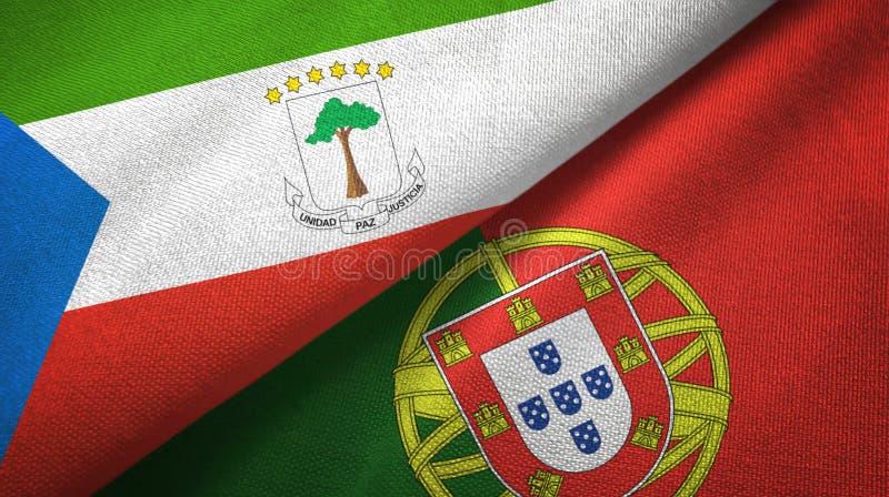 Ισημερινή Γουινέα και Πορτογαλία δύο υφαντικό ύφασμα σημαιών, σύσταση υφάσματος ελεύθερη απεικόνιση δικαιώματος