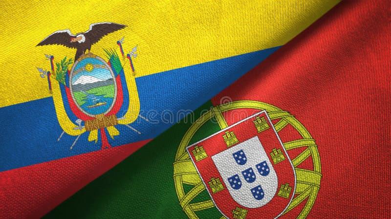 Ισημερινός και Πορτογαλία δύο υφαντικό ύφασμα σημαιών, σύσταση υφάσματος διανυσματική απεικόνιση