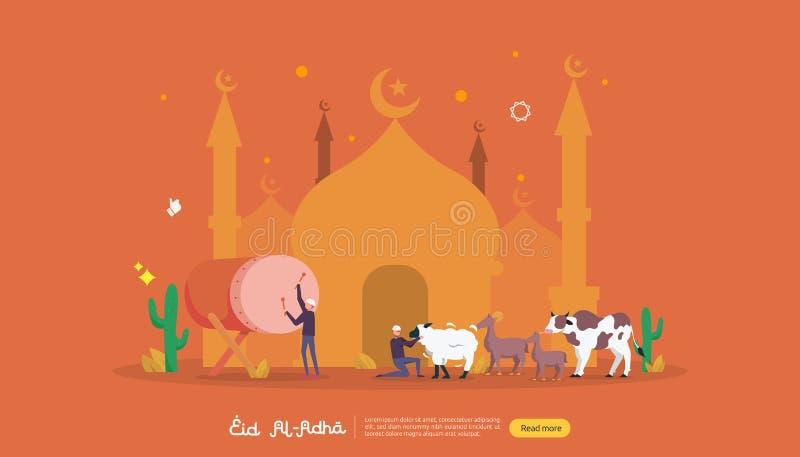 ισλαμική έννοια απεικόνισης σχεδίου για το ευτυχές adha Al eid ή γεγονός εορτασμού θυσίας με το χαρακτήρα ανθρώπων για την προσγε διανυσματική απεικόνιση