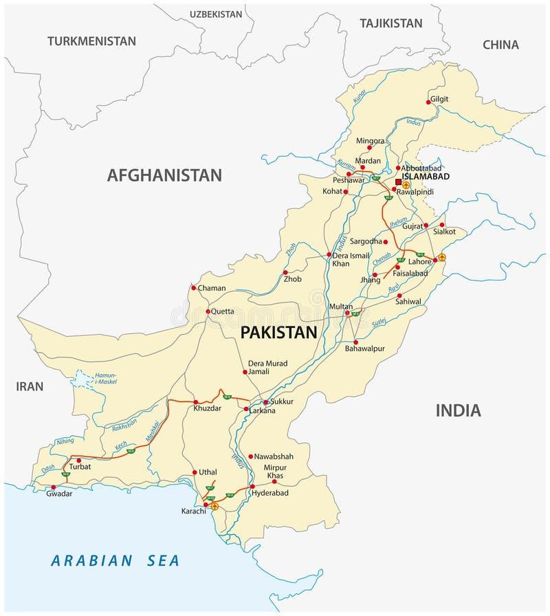Ισλαμική Δημοκρατία του οδικού διανυσματικού χάρτη του Πακιστάν απεικόνιση αποθεμάτων