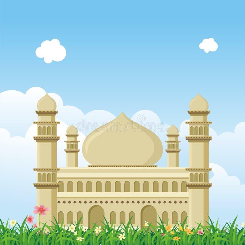 Ισλαμικό μουσουλμανικό τέμενος κινούμενων σχεδίων με το τοπίο φύσης ελεύθερη απεικόνιση δικαιώματος