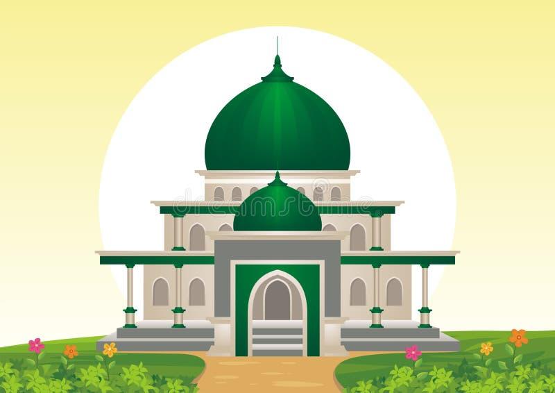 Ισλαμικό μουσουλμανικό τέμενος κινούμενων σχεδίων με το τοπίο ελεύθερη απεικόνιση δικαιώματος