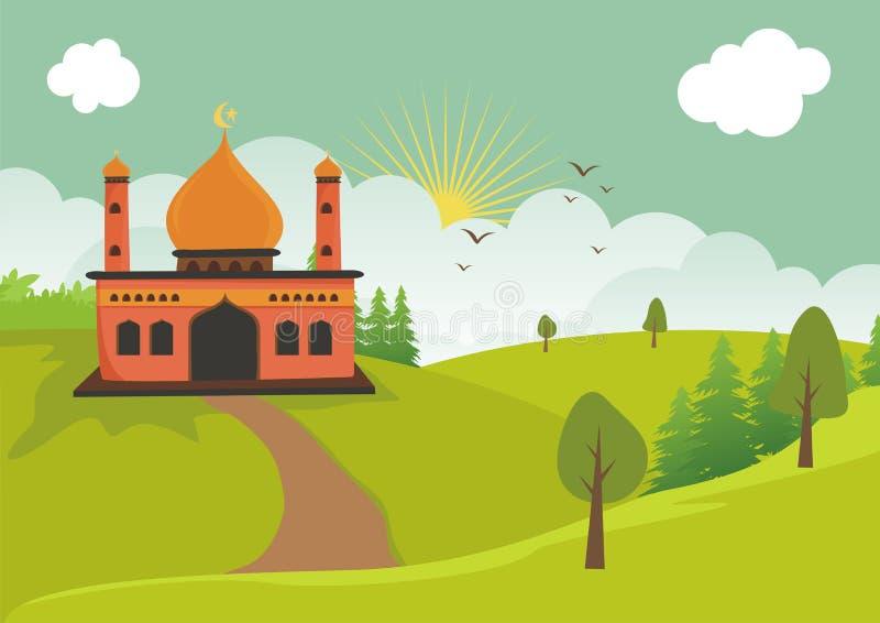Ισλαμικό μουσουλμανικό τέμενος κινούμενων σχεδίων με το τοπίο διανυσματική απεικόνιση