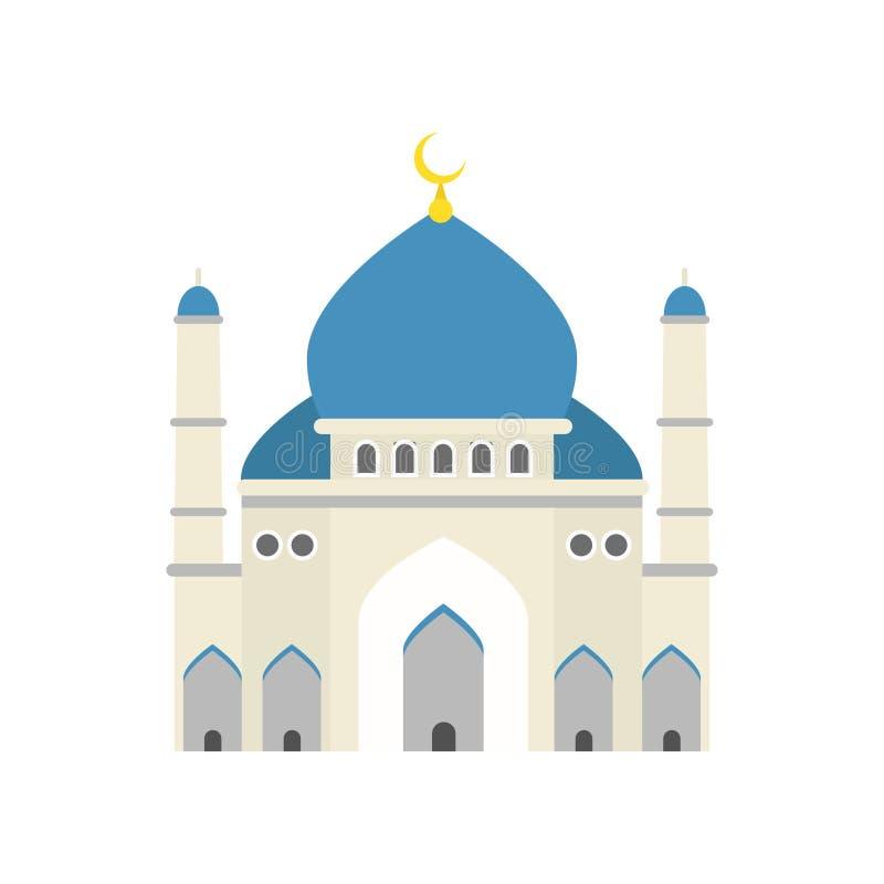 ισλαμικό μουσουλμανικό τέμενος Παραδοσιακή θρησκευτική αρχιτεκτονική Θέση της μουσουλμανικής λατρείας Οικοδόμηση με τον μπλε θόλο διανυσματική απεικόνιση