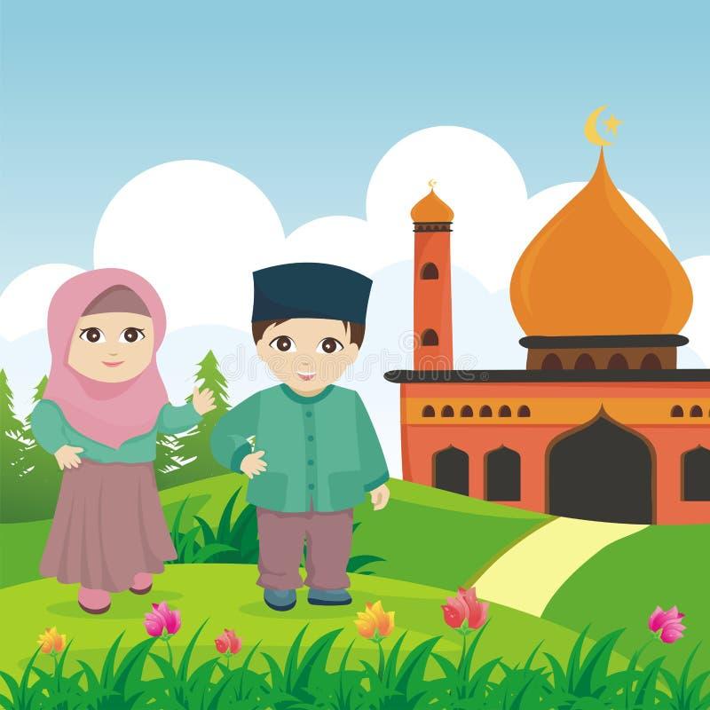 Ισλαμικό παιδί κινούμενων σχεδίων με το μουσουλμανικό τέμενος και το τοπίο απεικόνιση αποθεμάτων