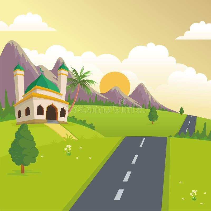 Ισλαμικό τοπίο φύσης με το μουσουλμανικό τέμενος διανυσματική απεικόνιση