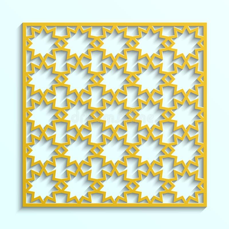 Ισλαμικό τρισδιάστατο σχέδιο Αραβικό γεωμετρικό illustraton Αφηρημένο μουσουλμανικό μωσαϊκό, περσικό μοτίβο Στοιχείο διακοσμήσεων απεικόνιση αποθεμάτων