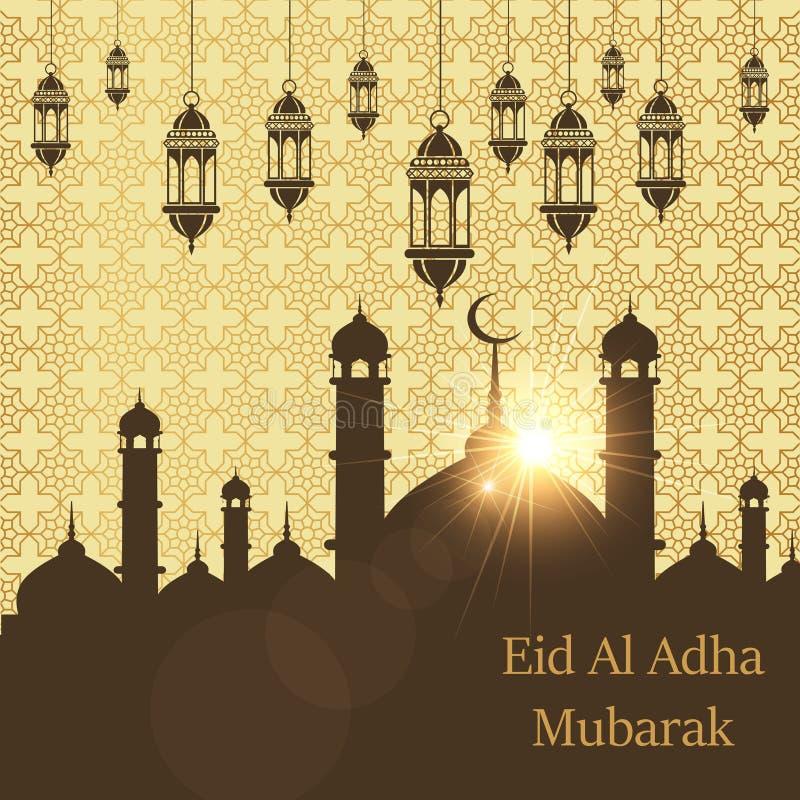 Ισλαμικό φεστιβάλ της θυσίας, ευχετήρια κάρτα Al Adha Μουμπάρακ Eid Διανυσματική ανασκόπηση απεικόνιση αποθεμάτων