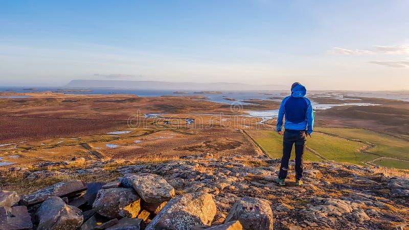 Ισλανδία - άτομο που στέκεται στο λόφο που αγνοεί την απέραντη άποψη λιβαδιών και φιορδ στοκ φωτογραφία με δικαίωμα ελεύθερης χρήσης