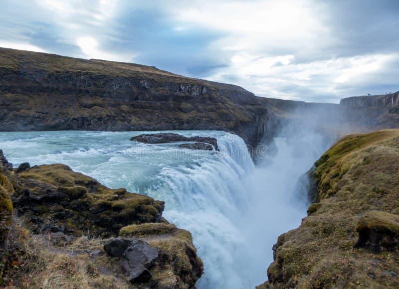 Ισλανδία - δυνατό Gulfoss στοκ εικόνα