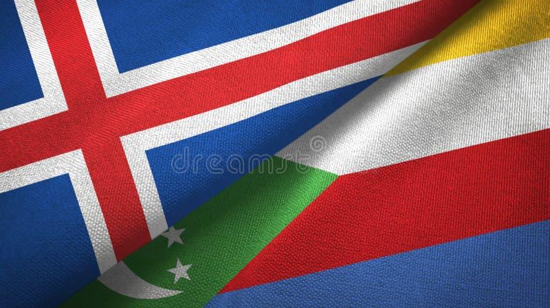 Ισλανδία και Κομόρες δύο υφαντικό ύφασμα σημαιών, σύσταση υφάσματος απεικόνιση αποθεμάτων