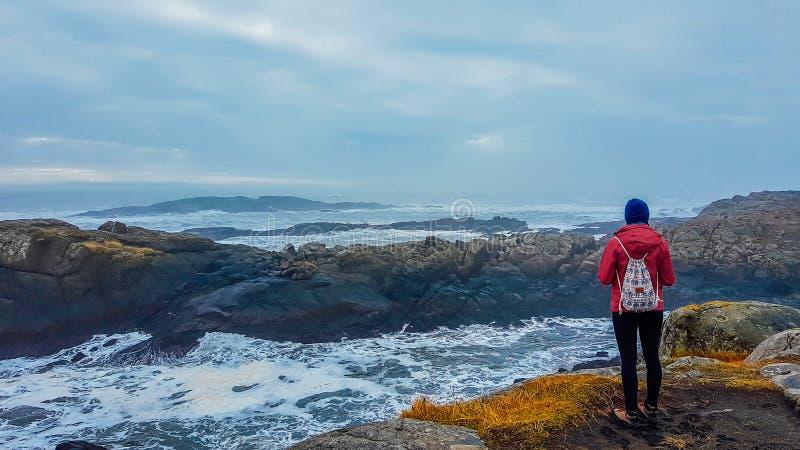 Ισλανδία - κορίτσι και η θάλασσα στοκ εικόνες
