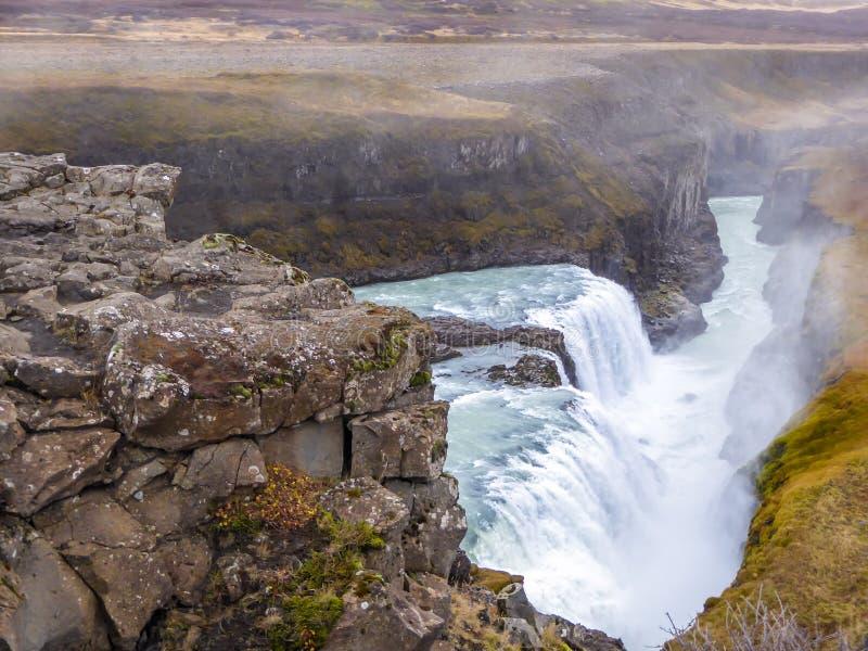 Ισλανδία - Gulfoss που βλέπει δυνατό από την κορυφή στοκ εικόνες