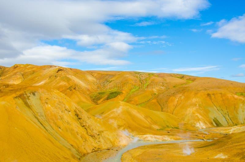 Ισλανδία Kerlingarfjöll - τοπίο Vulcanic με τα καυτά ελατήρια και το βράσιμο στον ατμό strams στοκ φωτογραφία με δικαίωμα ελεύθερης χρήσης
