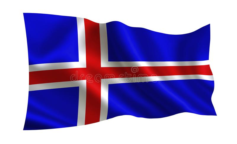 Ισλανδική σημαία Μια σειρά σημαιών ` του κόσμου ` Η χώρα - Ισλανδία ελεύθερη απεικόνιση δικαιώματος