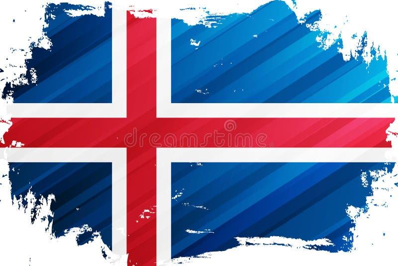 Ισλανδικό υπόβαθρο κτυπήματος βουρτσών σημαιών Εθνική σημαία της Ισλανδίας ελεύθερη απεικόνιση δικαιώματος
