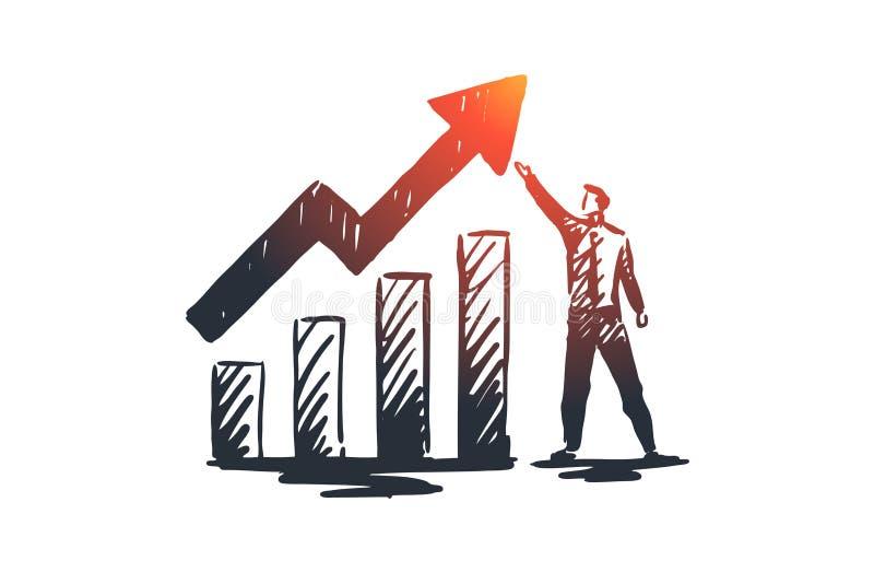 Ισολογισμός, ανάλυση, οικονομική, αύξηση, έννοια γραφικών παραστάσεων Συρμένο χέρι απομονωμένο διάνυσμα απεικόνιση αποθεμάτων