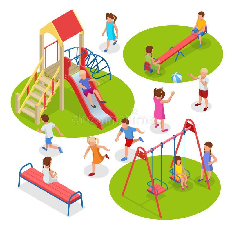 Ισομετρικά παιδιά, αγόρια και κορίτσια παίζουν στην παιδική χαρά Κράσπεδο συρματόσχοινου από καρουζέλ ελεύθερη απεικόνιση δικαιώματος