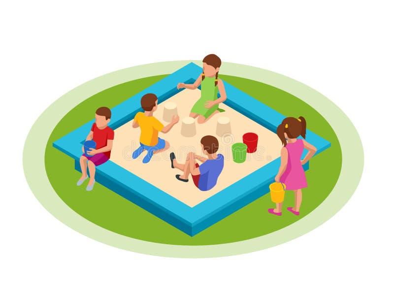 Ισομετρικά παιδιά παίζουν στο φίλτρο Νήπια παιδιά που κάθονται σε αμμόλοφο παίζοντας με πλαστικά πολύχρωμα παιχνίδια απεικόνιση αποθεμάτων